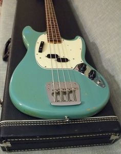 Fender Vintage 1966 Mustang Bass Guitar Daphne Blue Jazz Precision Family   eBay