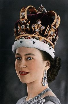 HM Queen Elizabeth II wearing the Imperial State Crown, worn only once during the reign of a monarch; at the time of the coronation.