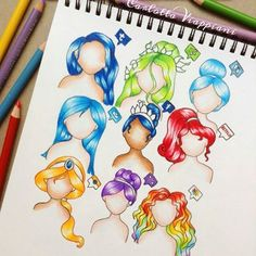Tumblr, Vine, Skype, E-Mail, Facebook, Netflix, Instagram, Viber & Photos [as hair] (Drawing by Unknown) #SocialMedia