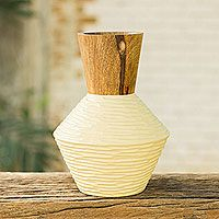 Mango wood decorative vase, 'Modern Thai'