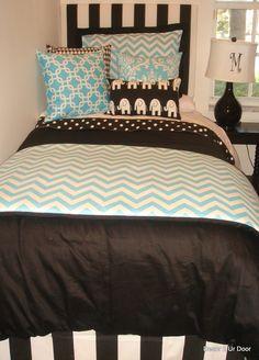 Aqua Chevron and Black Dorm Bedding Set, adorable! especially the elephant pillow!
