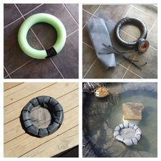 DIY floating pond plant ring/island from a pool noodle and window screen