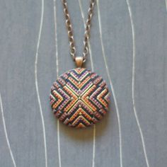 North Star Cross Stitch Necklace/ Pendant copper by TheWerkShoppe, $44.00