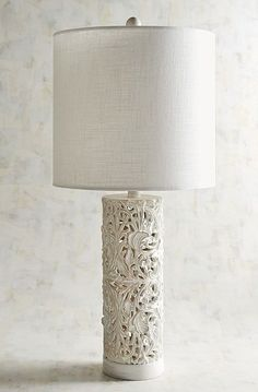 Olivia Open Carved Whitewashed Table Lamp – Ellie Lane | Furniture & Decor for Coastal & Mountain Interiors