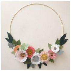 MODERN WREATH // Felt Flower Wreath // Gold Hoop Wreath // Floral Art // Succulents + Roses