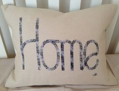 Home embroidered cushion by LMDSimplyBe on Etsy, £29.50