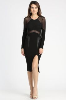 Made is the USA, sexy little black dress with mesh details. Long Sleeve cocktail dress