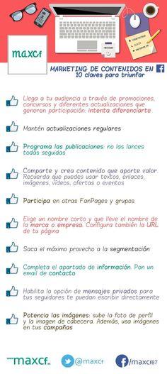 Hola: Una infografía con 10 claves para el marketing de contenidos en FaceBook. Vía Un saludo