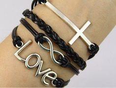 Vintage Style Black Leather Rope Cross Love Letters Infinity Love Bracelet