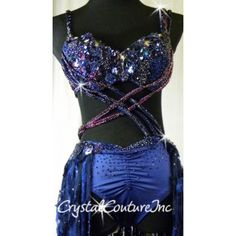 Encore Costume Couture   Navy Blue Connected 2 Piece Bra-Top and Tunk/Skirt with Appliques - Swarovski Rhinestones - Size AM - Lyrical - Costumes