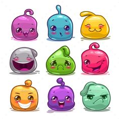 Cartoon Colorful Jelly Characters - Miscellaneous Game Assets | Download: https://graphicriver.net/item/funny-cute-cartoon-colorful-jelly-characters/19053366?ref=sinzo