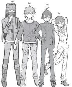 Danganronpa Korekiyo Rantaro Shuichi and Kokichi. Originally found here: https://www.pixiv.net/member_illust.php?mode=manga_big&illust_id=61609366&page=4