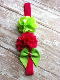 love the pops of lime green and pink--so fresh and whimsical for a sassy little girl...Passion Bows #bows #hair #accessories #kids
