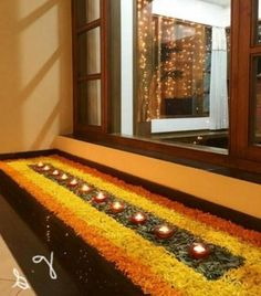 12 Types of Flower Rangoli Designs for different areas Diya Decoration Ideas, Diwali Decorations At Home, Decoration For Ganpati, Diy Wedding Decorations, Flower Decorations, Indian Decoration, Garland Wedding, Decor Ideas, Rangoli Designs Flower
