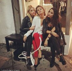 Reunion: Vanessa Hudgens posted an image of her alongside Spring Breakers co-stars Selena Gomez and Ashley Benson - pictured right to left -...