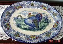 Rare Antique R&M Blue Turkey Platter: Removed Thanksgiving Dinner Plates, Vintage Thanksgiving, Thanksgiving Tablescapes, Thanksgiving Decorations, Fall Decorations, Turkey Plates, Turkey Dishes, Peru, Turkey Time