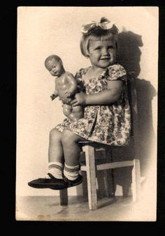 046759 Charming Girl w Doll Old Photo | eBay
