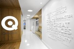 Stand off white lettering for office interior design. Foamex letters or acrylic letters on the wall make a super entrance welcome wall.