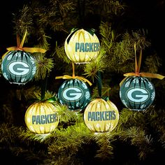 Green Bay Packers 6-Pack LED Ornament Set