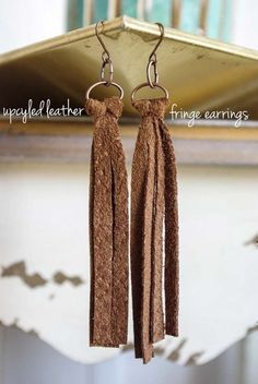 DIY Earrings and Homemade Jewelry Projects - Upcycled Leather Fringe Earrings - Easy Studs, Ideas with Beads, Dangle Earring Tutorials, Wire, Feather, Simple Boho, Handmade Earring Cuff, Hoops and Cute Ideas for Teens and Adults http://diyprojectsforteens.com/diy-earrings #HomemadeJewelry #homemadeearrings #diystudearringswire #diyearrings #leatherjewelry #diyjewelry #earringsdiy #beadedstudearrings