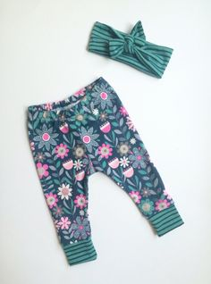 Floral and Striped Baby Girl Leggings // Cuffed Leggings // Baby Girl Leggings // Toddler Girl Leggings// Leggings and Headband Set by SavvyJackWear on Etsy https://www.etsy.com/listing/243544252/floral-and-striped-baby-girl-leggings