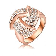 K-DESIGN Big Sale New Unique Triangle Ring 18K Rose Gold Plate SWA Elements Austrian Crystals Crossed Finger Rings 17*16mm Ri-HQ0124 10.0 >>> Want additional info? Click on the image.
