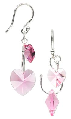 Valentine's Day Earrings with Sterling Silver and Pink Swarovksi Crystal Hearts. - Fire Mountain Gems and Beads