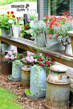 """One of our most popular series of posts has been """"Containers You Never Thought Of"""". So we decided it was time to update this post with even more new, unique garden containers for you. And we found some amazing creative planter ideas! Garden Junk, Garden Planters, Garden Art, Garden Design, Garden Whimsy, Glass Garden, Garden Benches, Garden Beds, Patio Bench"""