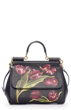 Dolce&Gabbana 'Small Miss Sicily' Tulip Print Leather Satchel available at #Nordstrom