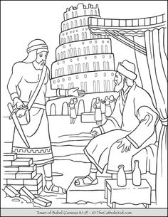 Tower Of Babel Coloring Page Unique tower Of Babel Bible Coloring Page thecatholickid