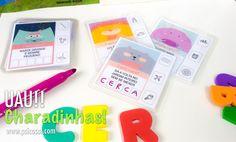 Cartas com Charadinhas para alfabetização. Tem arquivo PDF com estas cartas disponível na nossa loja do site.