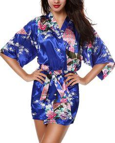 Avidlove Women's Kimono Robes Peacock and Blossoms Silk Nightwear Short Style at…