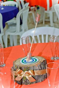 Arrow in a bullseye table centerpiece from a Brave Themed Birthday Party via Kara's Party Ideas KarasPartyIdeas.com (6)