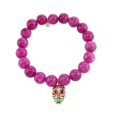 Large Yellow-Gold Day of the Dead Skull on Berry Jade - Beaded Bracelets - Jewelry - Sydney Evan