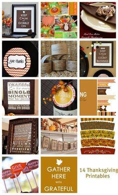 14 free Thanksgiving printables