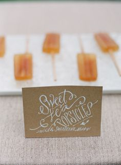 Adorable southern Idea for weddings, showers, or entertaining - sweet tea popsicles!