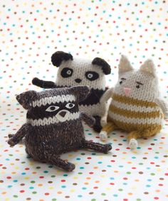 Racoon, Panda, Tabby Cat from Idiot's Guide Knitting.