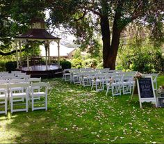 The Ascot House rotunda, a featured element in the outdoor garden wedding ceremonies.