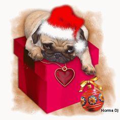 Christmas Pug animated puppy gift christmas cute christmas christmas pics christmas dogs christmas pets