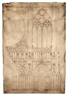 "Blueprint of medieval cathedralThis is cool. The top image shows a drawing on parchment from the 1260s. It is one of the earliest existing architectural drawings and depicts the façade, or front, of Strasbourg Cathedral in France. The ""blueprint"" almost stands a meter tall. What's so special about this medieval artifact is that it still exists: single sheets rarely survive from the Middle Ages (with the exception of charters). Equally special is that we can compare the drawing to the real…"