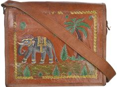 Bulk Wholesale Handmade Brown Color Messenger Bag in Genuine Leather with a Flap – Adorned with Elephant & Coconut Tree Motif – Cross Body / Sling Bags