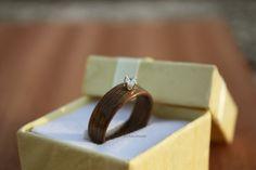 Engagement Wooden Ring - American Walnut & Cubic Zirconia In Sterling Silver Bezel by HandmadeWoodenRings on Etsy American Walnut, Jewelry Accessories, Unique Jewelry, Wooden Rings, Handmade Wooden, Wedding Rings, Stud Earrings, Engagement Rings, Gemstones