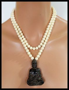 QUAN YIN - Handcarved Jade Pendant - Restructured Amber 2 Strand Necklace by sandrawebsterjewelry on Etsy