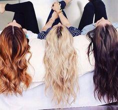 Image via We Heart It https://weheartit.com/entry/155832688 #bff #brownhair #brunette #friends #hair #redhair #haircolor #blondehair