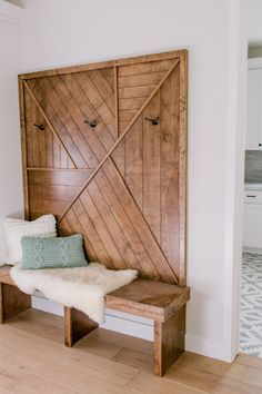Wooden bench and coat hooks for front entryway. Contemporary rustic mudroom or front entry bench with coat hooks on wooden wall. bench and hooks Minimalist Approach to Fixer Upper Style - Town & Country Living Fixer Upper Style, Fixer Upper Decor, Home Interior, Interior Design, Interior Livingroom, Interior Colors, Foyer Decorating, Decorating Ideas, Rustic Contemporary