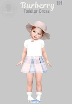 Toddler Burberry Dress for The Sims 4