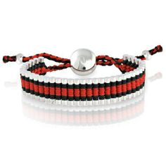 Silvertone Circle with Red and Black Cord Adjustable Friendship Bracelet Beaux Bijoux. $14.75. Adjustable to fit any size wrist. Can be delivered next Business Day!. Gift box included. Vibrant cord color!. Friendship Bracelet is engravable. Save 70%!