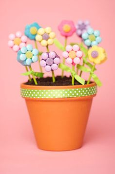 "Cute birthday cake idea--Flower Pot Cake Pops in an oreo cookie/chocolate ""potting soil"" with gummy worms for those interested parties...or rather, that's what I suppose I could modify this craft for. I think it would adorable!"