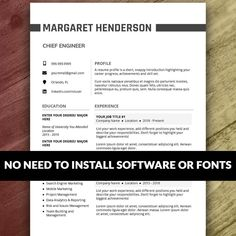 Resume Template Instant Download | Etsy Cover Letter Teacher, Cover Letter For Resume, Cover Letter Template, Resume Template Examples, Resume Template Free, Creative Resume Templates, Resume Layout, Resume Writing, Resume Design