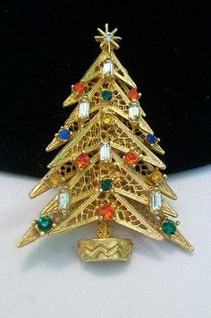 Vintage Signed Art Six Candle Rhinestone Christmas Tree Brooch Pin Book PC | eBay